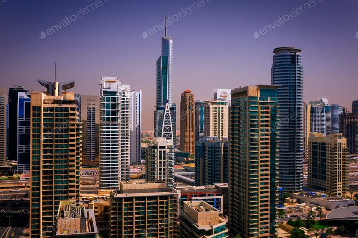 Amazing colorful dubai marina skyline, Dubai, United Arab Emirates.