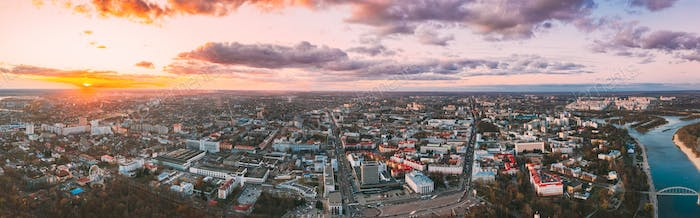 Gomel, Belarus. Aerial View Of Homiel Cityscape Skyline In Autumn Evening. Residential District And