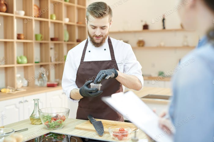 Professional Chef Working in Kitchen