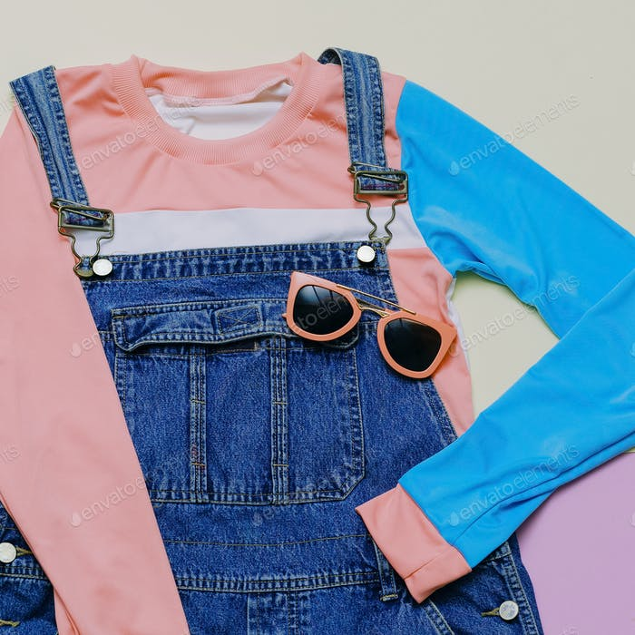 Fashionable denim overalls and accessories. Stylish clothes. Eye