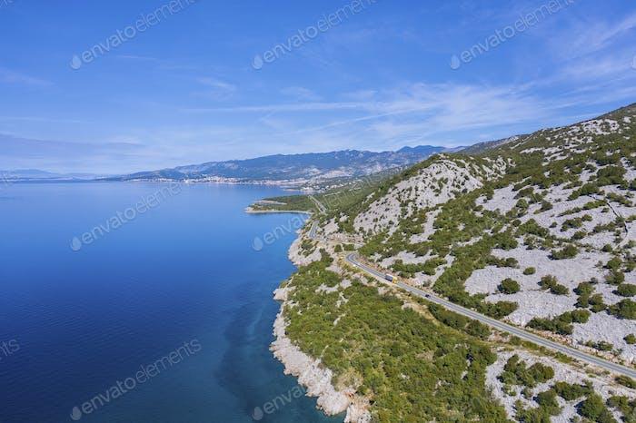 Kroatische Mittelmeerküste Luftaufnahme