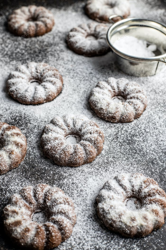 Sweet rings cookies. Biscuits with cocoa flavor sprinkled with sugar.
