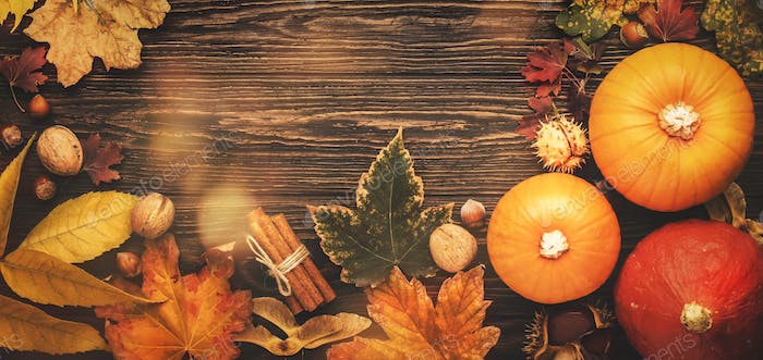Thanksgiving or Halloween background: pumpkins, nuts, fallen leaves and spices