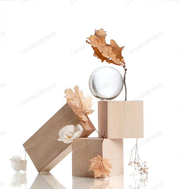 Modern art still-life from wooden elements and dried flowers.