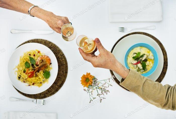 Dinig Dating Couple Chamapagne Celebration Concept