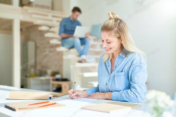 Girl sketching