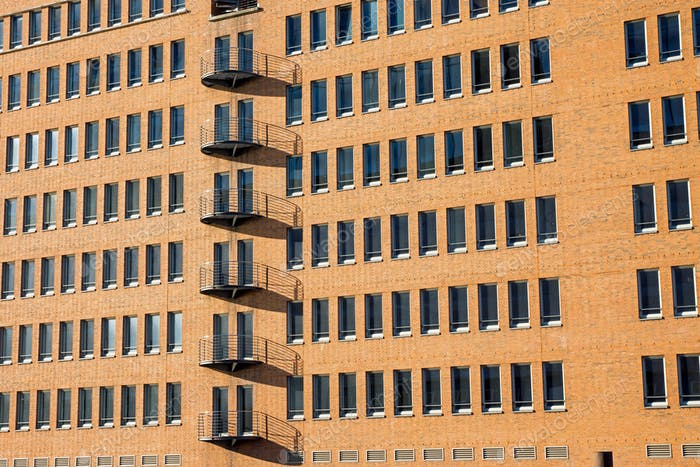 Modern brickwall facade in Hamburg