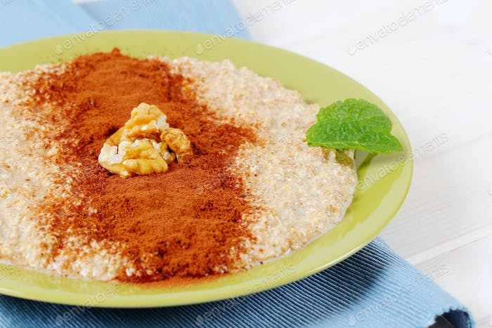 plate of oatmeal porridge