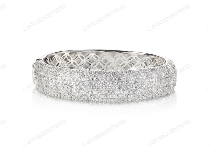 Wide diamond Bangle Bracelet