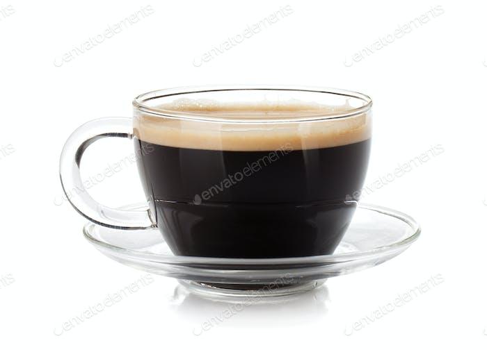 Espresso coffee in glass cup