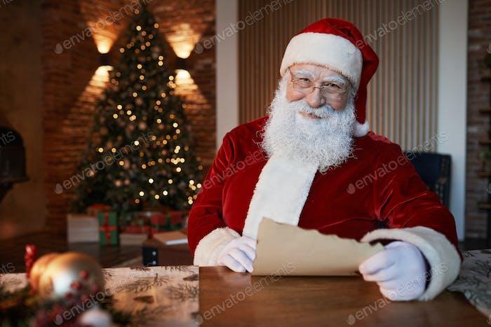 Smiling Santa In Living Room