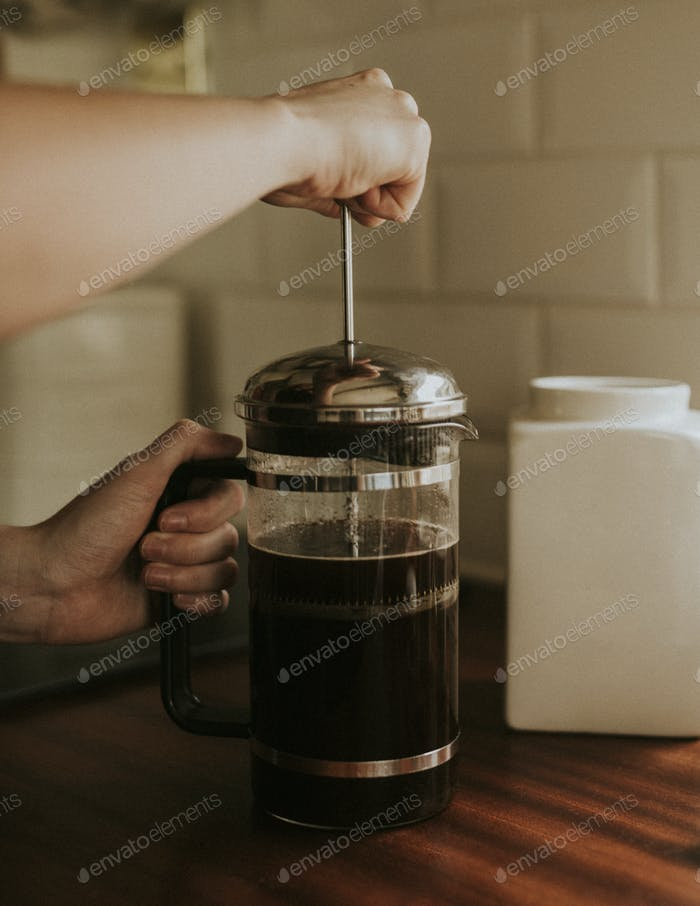 French press coffee for breakfast in the kitchen