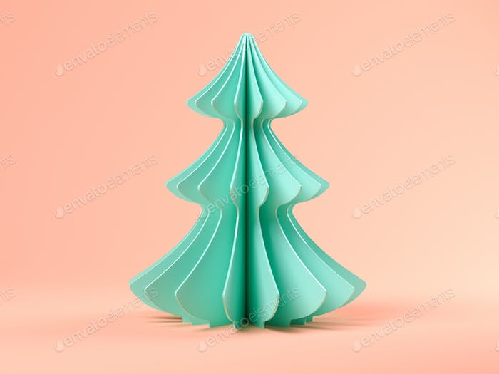 Pink abstract christmas tree on blue background 3d rendering