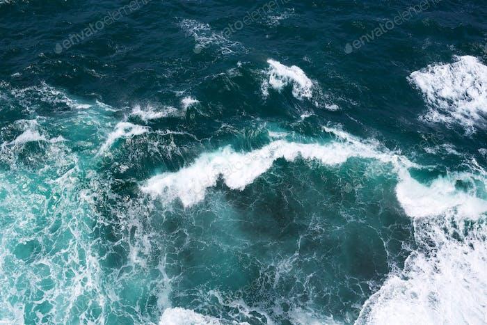 Aerial View on Ocean's Waves.
