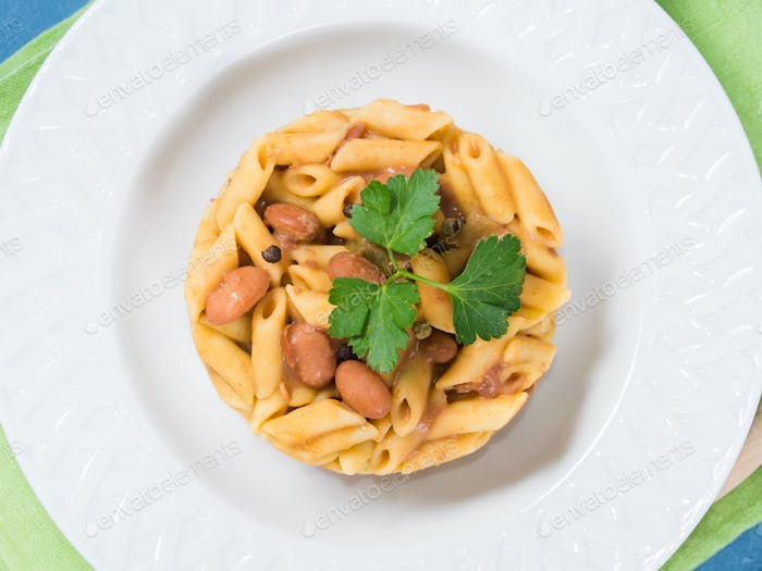 Served Italian penne pasta with kidney beans