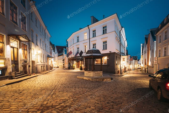Tallinn, Estonia. Evening View Of Cat Well At Intersection Of Rataskaevu And Dunkri Street