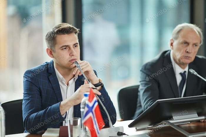 Young political leader at conference