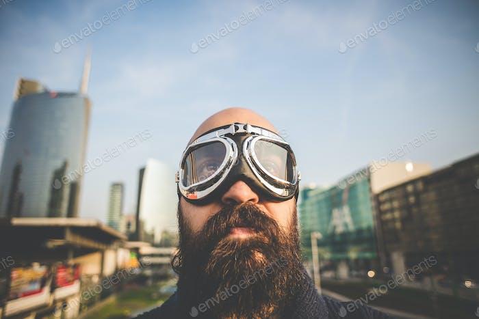 bearded man with glasses aviator