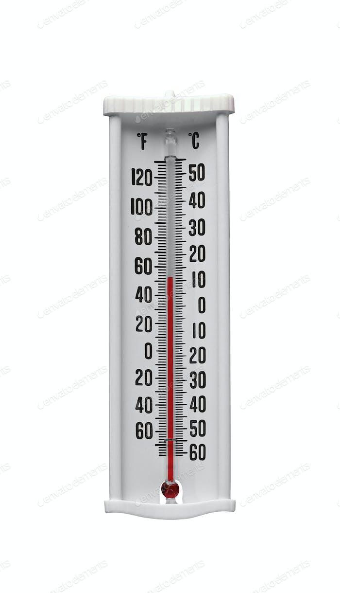 Klassisches Thermometer isoliert auf weiß