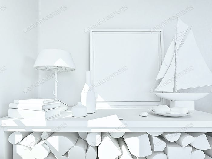 clay render of a still life in white