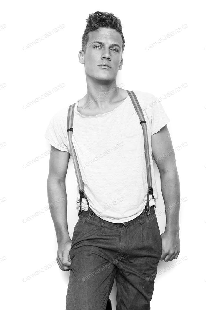 Male Fashion Model Posing with Suspenders