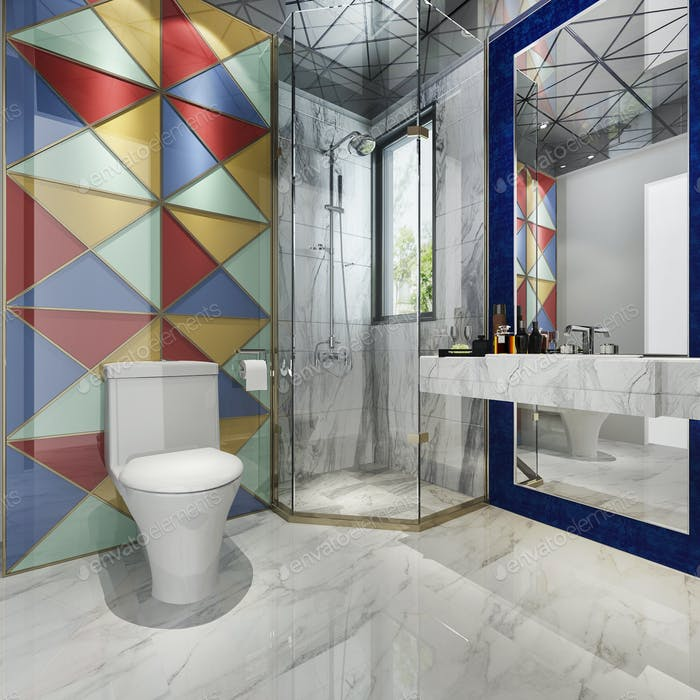 3d rendering modern bathroom with colorful tile decor