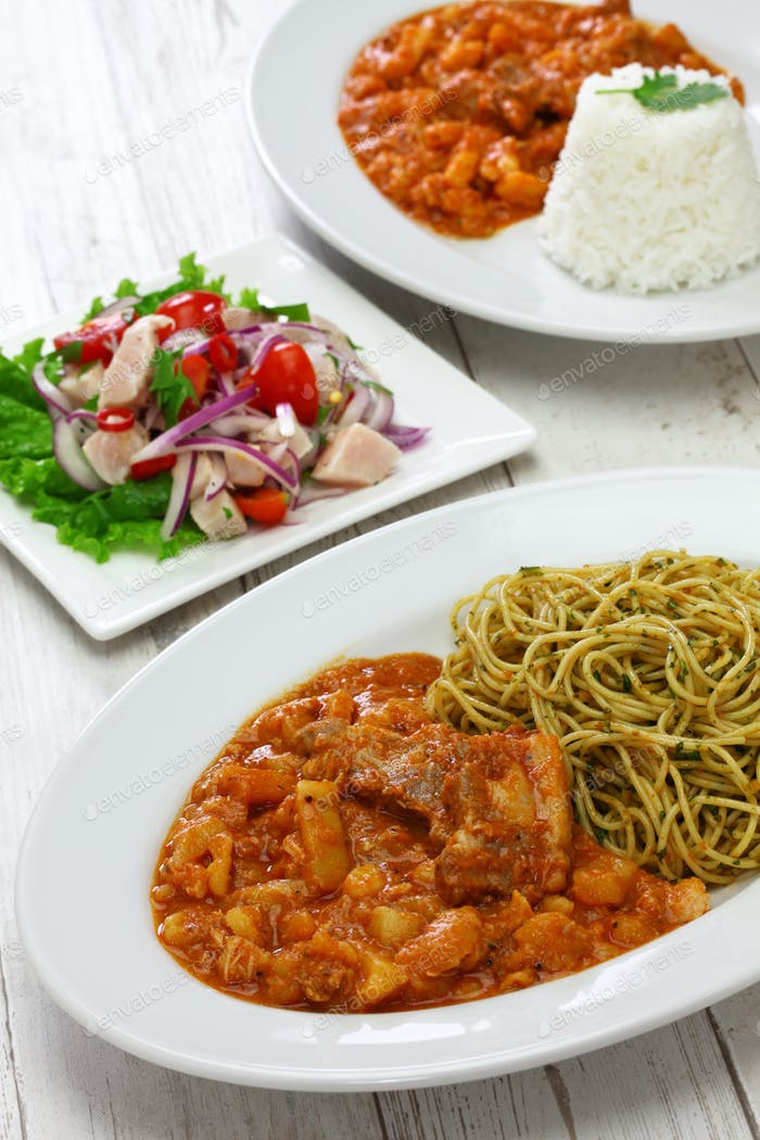 peruvian dried potato stew with basil pasta and marinated fish salad