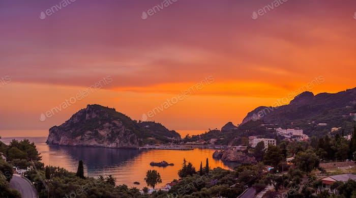 Paleokastritsa at sunset in COrfu
