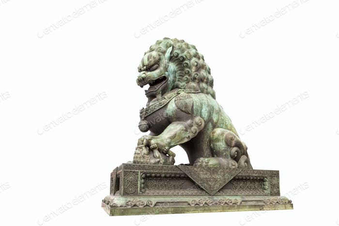 bronze lion statue isolated