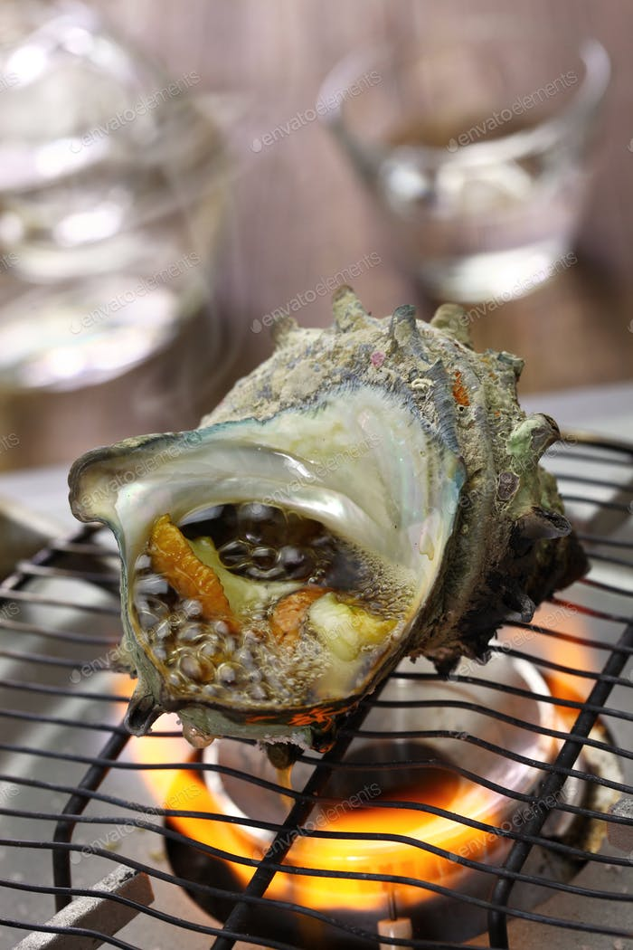grilled horned turban shell, japanese food