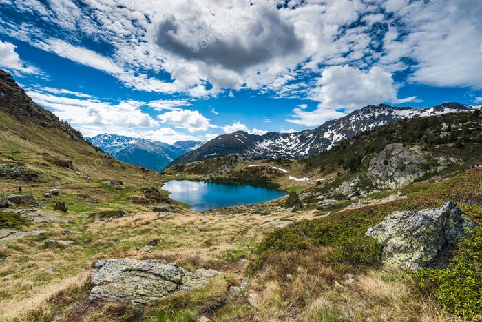 Overlooking lake Tristaina in Andorra Pyrenees