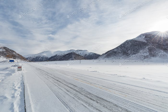 snowy national highway in Tibet