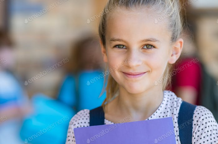 Happy girl at elementary school