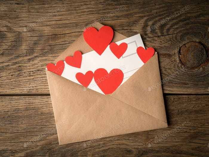 card and red hearts