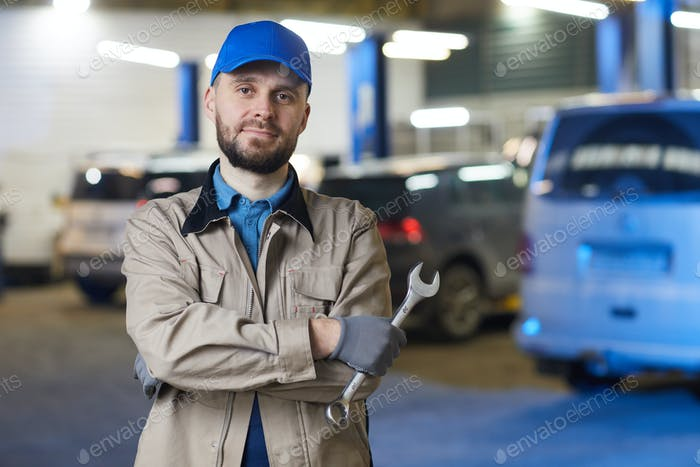 Auto Mechanic With Spanner