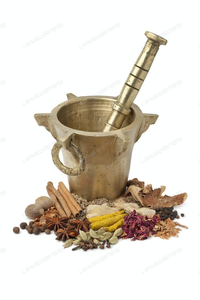 Moroccan Mortar, pestle and herbs