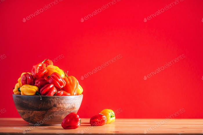 Colorful scotch bonnet chili peppers in wooden bowl over red background. Copy space