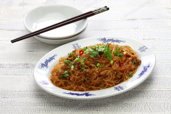 spicy stir fry vermicelli with minced pork, classic Sichuan dish in chinese cuisine
