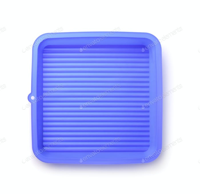 Top view of  blue silicone pan