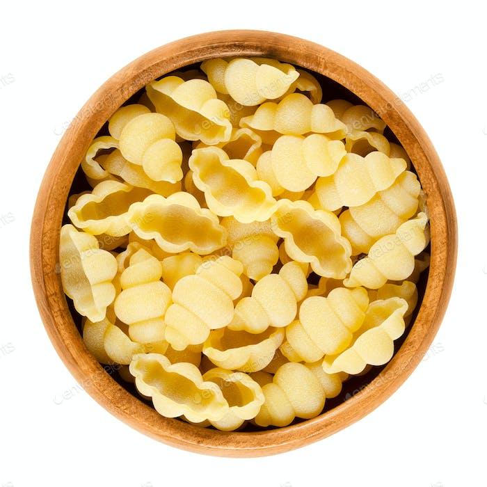 Gnocchi pasta in wooden bowl over white