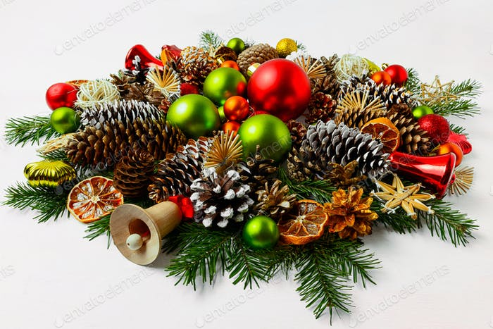 Christmas wreath with wooden jingle bell, copy space.