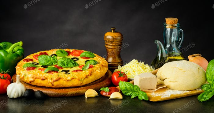 Pizza Margherita and Dough with Ingredients