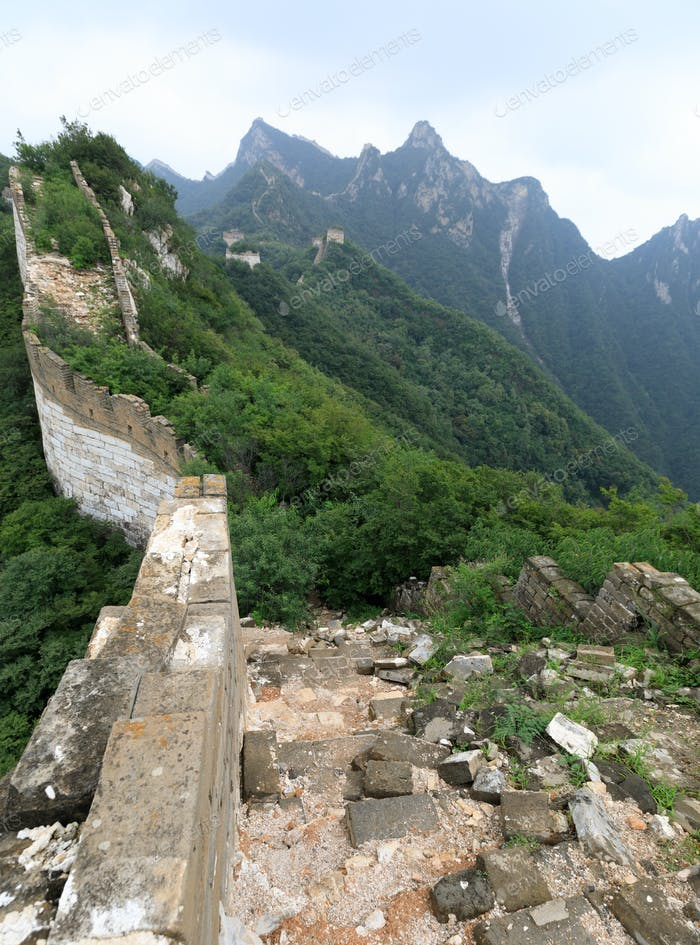 Unrestored chinese great wall in china