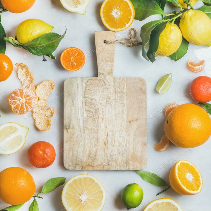 Variety of fresh citrus fruit for making juice, square crop