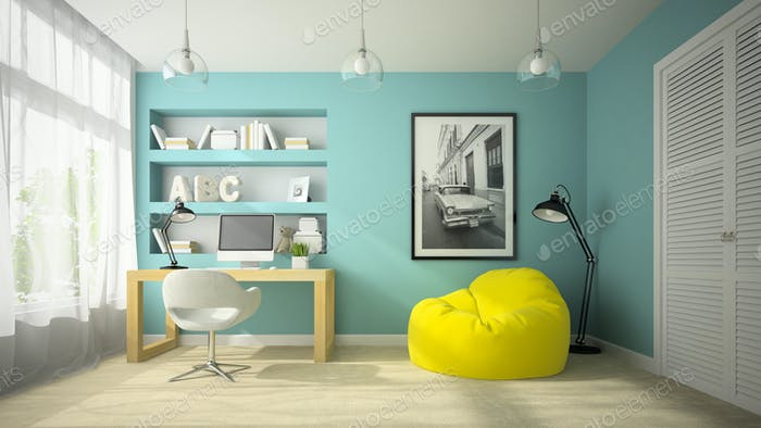 Interior of modern design room with yellow beanbag 3D rendering