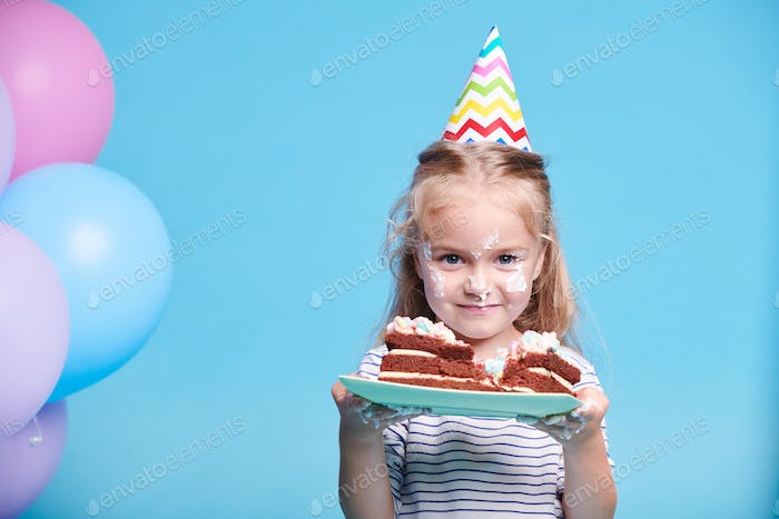 Girl with piece of cake