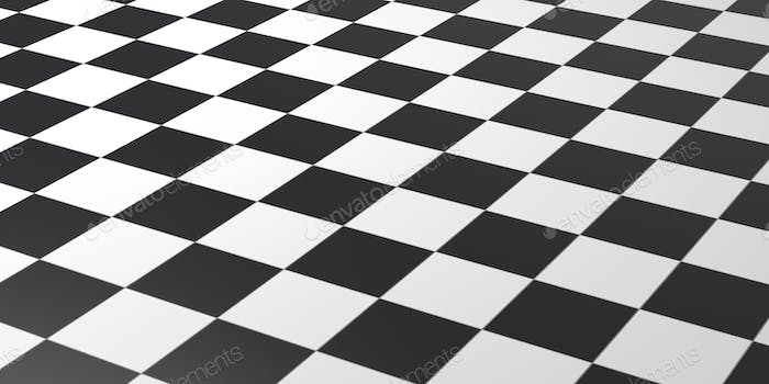 Chessboard black and white color background texture, perspective view. 3d illustration