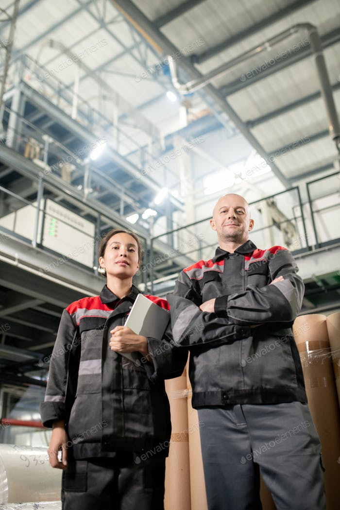 Contemporary male and female engineers standing against warehouse environment