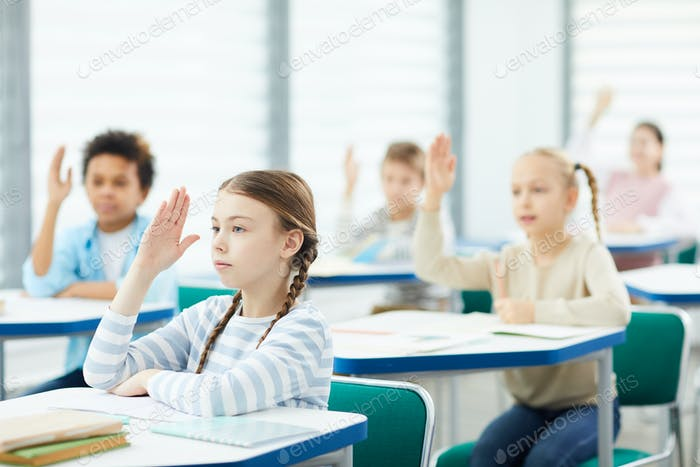 Students Raising Hands In Class