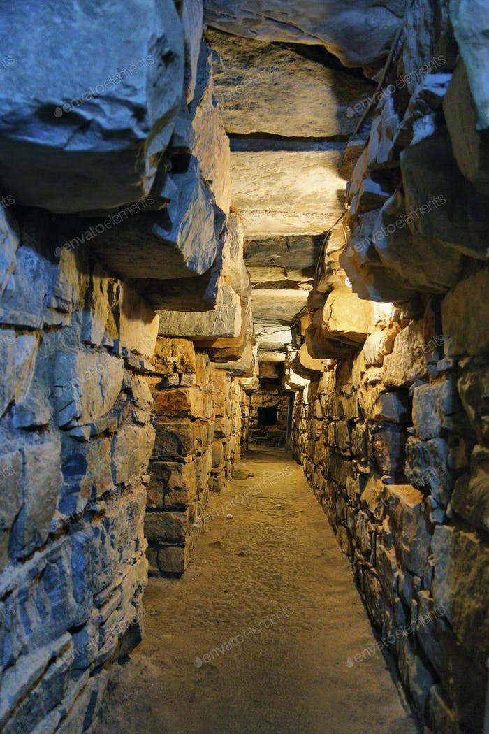 Underground tunnels within the main temple of Chavin de Huantar
